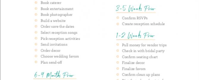 wedding reception checklist